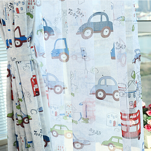 Cartoon window screening sheer colorful cars blackout curtain for child room finishef products(China (Mainland))
