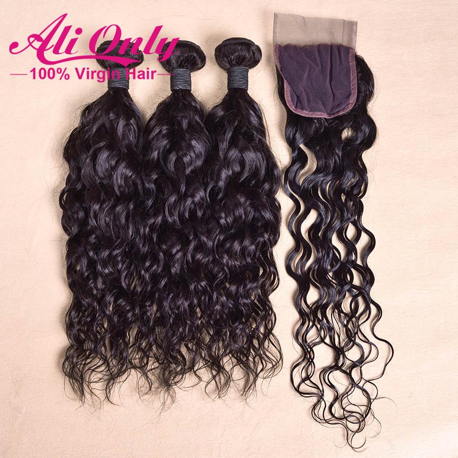 New arrivral brazilian natural wave virgin hair 3pcs with closure brazilian curly hair weave brazilian hair 10-24 human hair<br><br>Aliexpress
