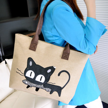 2016 Women's handbag canvas bag with cute cat Appliques portable fashion ladies small bags bolso de las mujeres Dropshipping