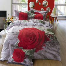 100% cotton 3D Big Rose Flowers Oil Painting Bedding Set Queen/King Size Bed sets Bedclothes Bed line Wedding Decoration(China (Mainland))