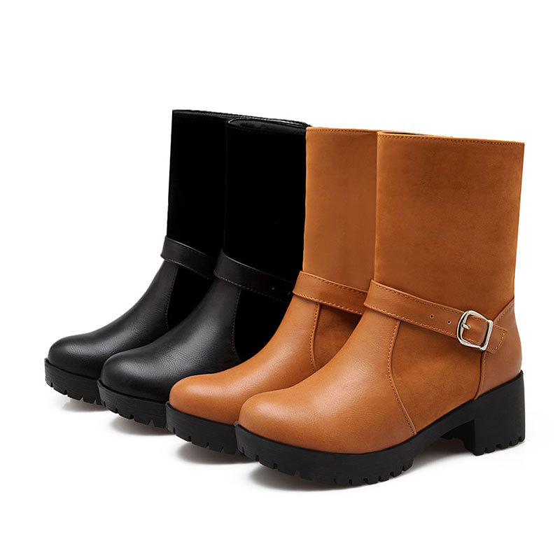 New Spring/Autumn comfortable and fashion half boots round toe buckle boots for women solid color thick heeled boots D3479<br><br>Aliexpress