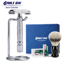 BAILI Double Edge Manual Men's Barber Safety Blade Razor Shaver T-Shaped Knife Holder Set +Wet Shaving Brush +Gift Box BD521L(China (Mainland))