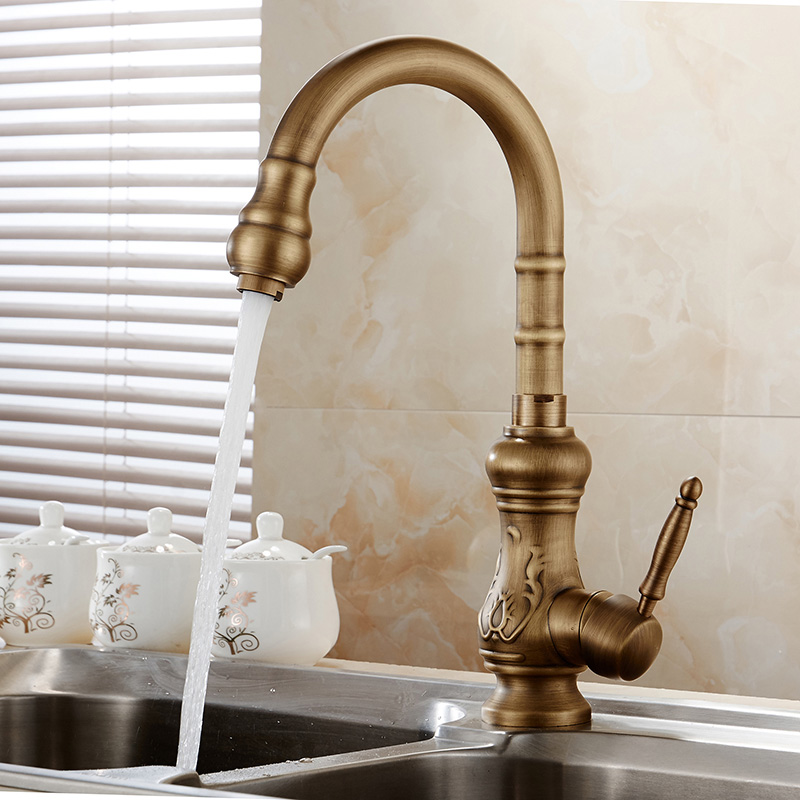 Antique brass kitchen faucet bronze finish,water tap kitchen Swivel Spout Vanity Sink Mixer Tap Single Handle Free Shipping1221F(China (Mainland))