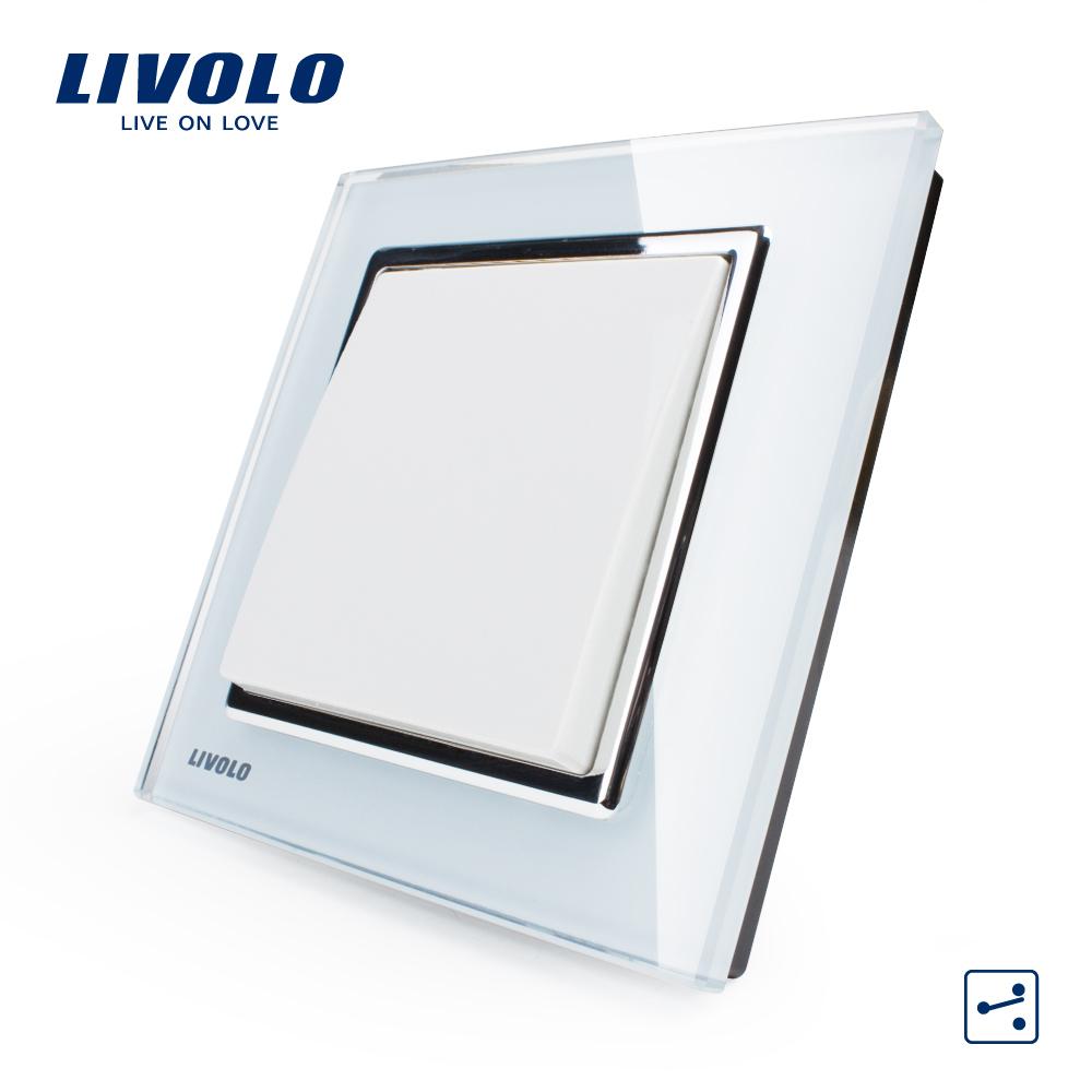 Free Shipping, Livolo New Wall Light Switch, White Crystal Glass Panel, 1 Gang 2 Way Control Push Button Switch VL-W2K1S-12(China (Mainland))