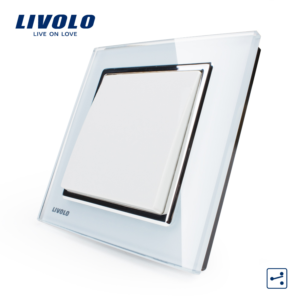 Free Shipping, Livolo New Wall Light Switch, White Crystal Glass Panel, 1 Gang 2 Way Control Push Button Switch VL-W2K1S-12(China (Mainland))