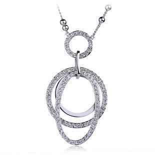 Austrian crystal circle long necklace Love Korean autumn winter fashion jewelry female sweater chain - ilove jewellry store