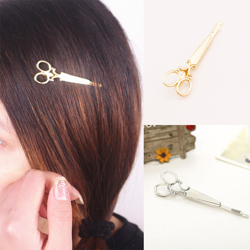 Cool Simple Head Jewelry Hair Pin Gold Scissors Shears Clip For Hair Tiara Barrettes Accessories Headdress For Girl Women(China (Mainland))