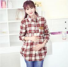 Maternity clothes during the spring and autumn autumn outfit fashion new grid pregnant woman long-sleeved shirt shirt(China (Mainland))
