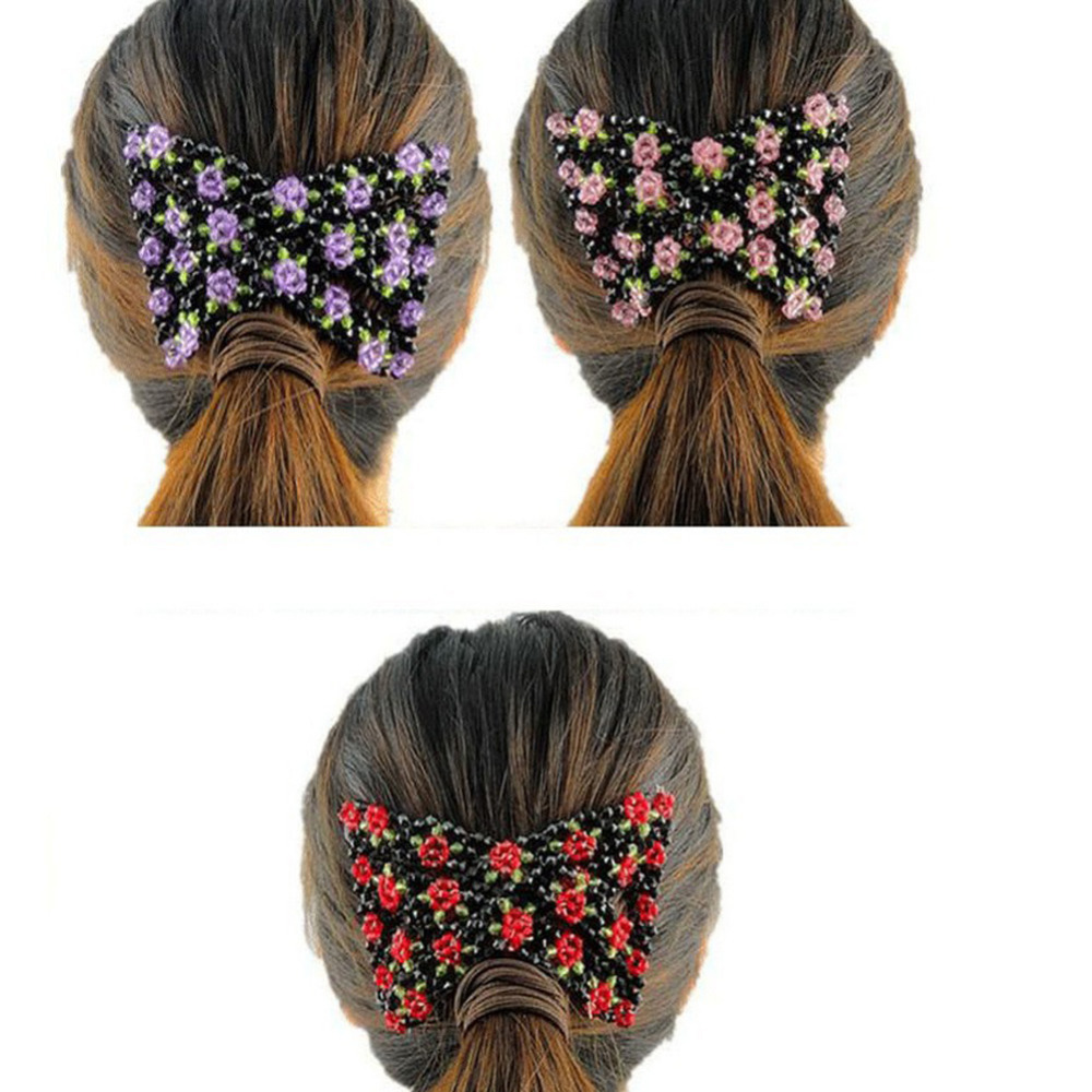 Fashion Hair Jewelry Girls Rose Patttern Beaded Stretchy Hair Comb Double Clips Hairpins Insert SL(China (Mainland))