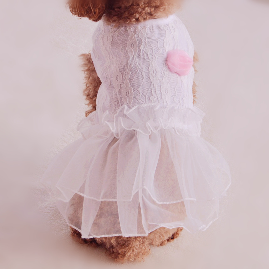 Hot Dog Dress Summer Pink Rose Princess Skirt Lace Wedding Pet Clothes For Puppy Small Animals Chihuahua Yorkshire(China (Mainland))