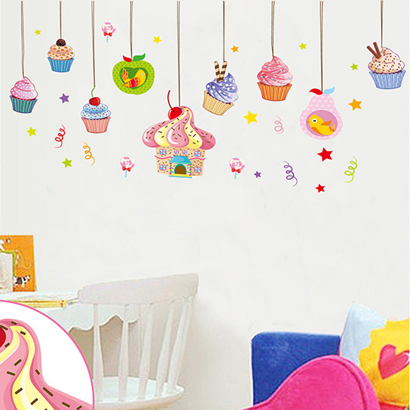 cupcake wall stickers reviews online shopping cupcake happi cupcake giant wall stickers stickers for wall com