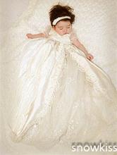 Vintage Short Sleeves Lace Silk Toddlers Christening Gown Baptism Dress For Infant Girls Boys