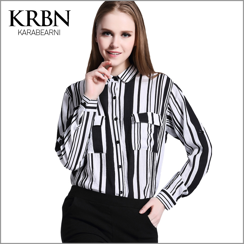 Blusas Women Spring/summer blouse 2015 casual striped pockets shirts long sleeve turn-down collar plue size women tops C00170(China (Mainland))