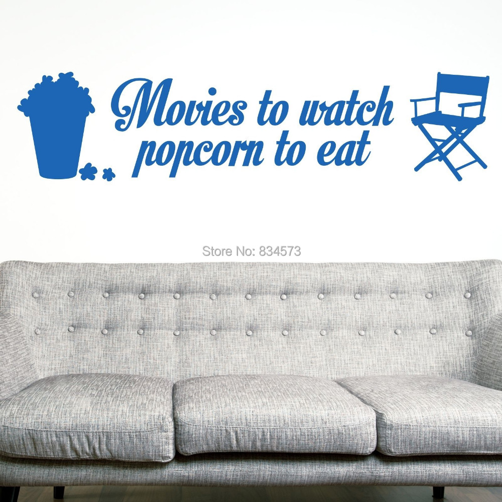Cinema movies popcorn eat film wall art stickers decal for Mural film