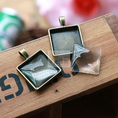 (40 pieces/lot) To fit 20mm square cabochon antique bronze plated vintage style alloy pendant bezel settings hd1218(China (Mainland))