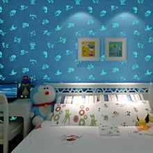 Glow In the Dark PInk Blue Wallpaper Roll 10m Kids Room Girl Boy  babies papel de parede DZK41 bedroom decor wall murals (China (Mainland))