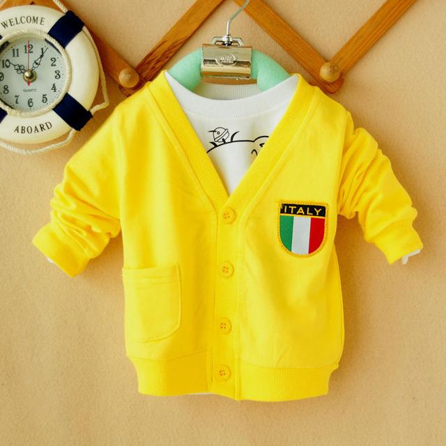 2016 spring autumn Infant cardigan 1 2 3 baby boy sweatshirt air conditioning shirt three-color flag cardigan h11 size 100-110