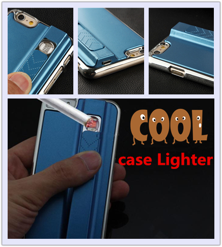2016 New Design Phone Case With Cigarette Lighter Phone Bags USB Charging Pulse Arc Windproof Lighter for iphone 4s 5 6 6s case(China (Mainland))