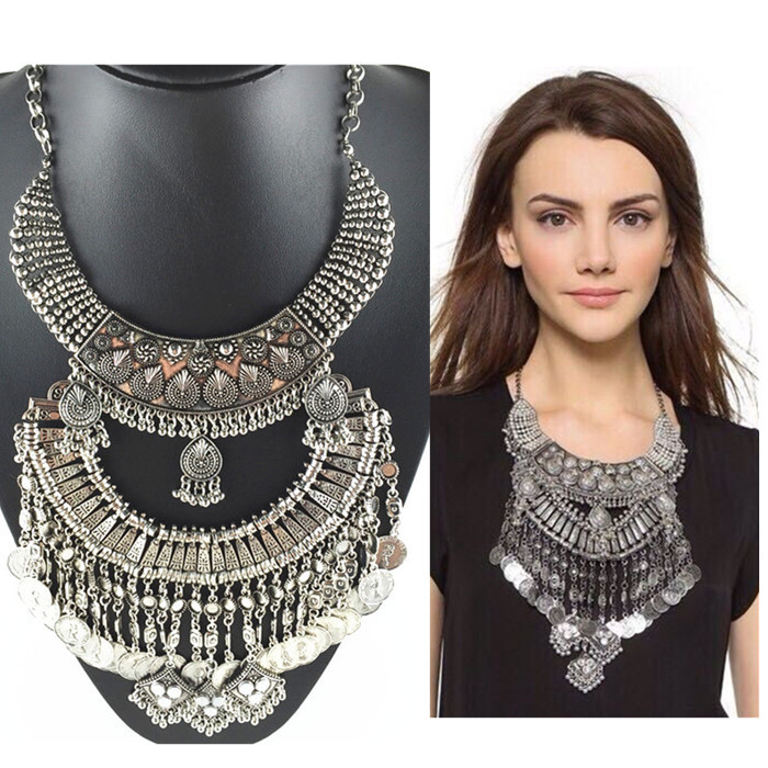 Bohemian Jewelry ancient Zinc Alloy Choker Coin Collar Necklaces Women exaggerated Tassels Statement & Pendants - Her Luxury Store store