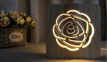 HZFCEW Novelty Ideas Rose Modeling 3D Illusion Night Light Wood Lamp Gifts For Kids Baby Birthday Bed Room Lights Decoration(China)