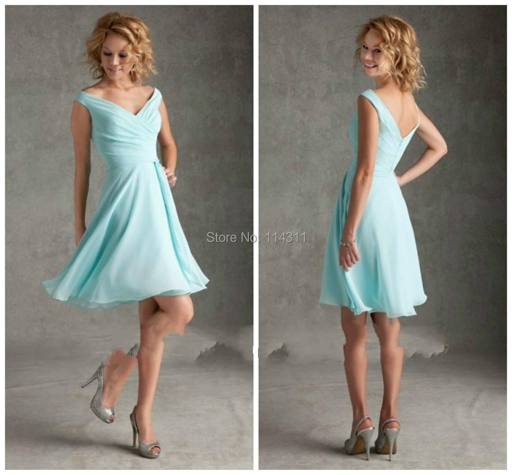 Aqua Short Bridesmaid Dresses Chiffon Elegant Pleats Beach