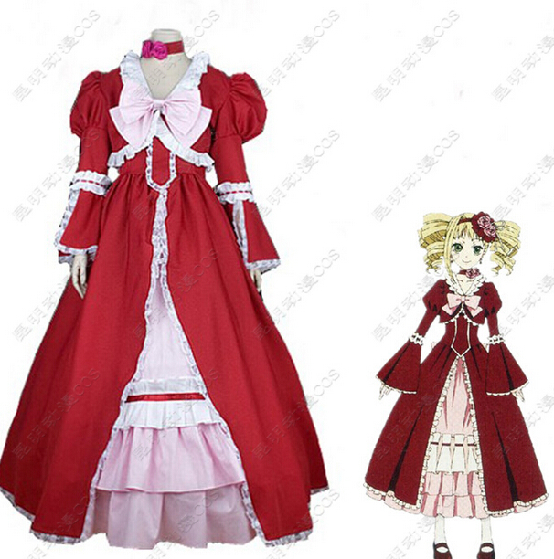 Black Butler Kuroshitsuji Elizabeth Midford Liz Red Lolita Long Dress Anime Cosplay CostumeОдежда и ак�е��уары<br><br><br>Aliexpress