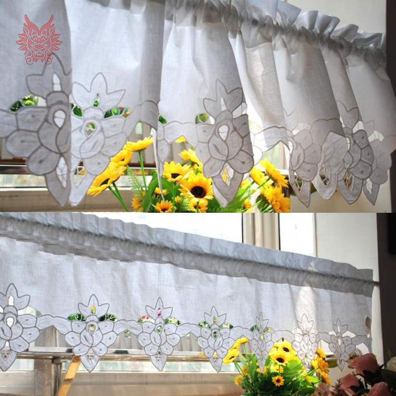 2015 New fashion white 100%cotton floral embroidery lace half-curtain bay window curtain for coffee/kitchen room SP2428