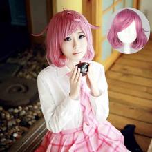 OHCOS Anime Noragami Character Ebisu Kofuku Cosplay Wig Rose Pink Short Curly Cosplay Wigs(China (Mainland))
