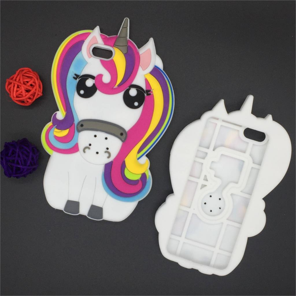 New 3D Cartoon Rainbow Unicorn Case Soft Silicon White Horse Cover for Apple iPhone SE 5 5S 5C 6 6S 7 7S & Plus 5.5″ Rubber Case