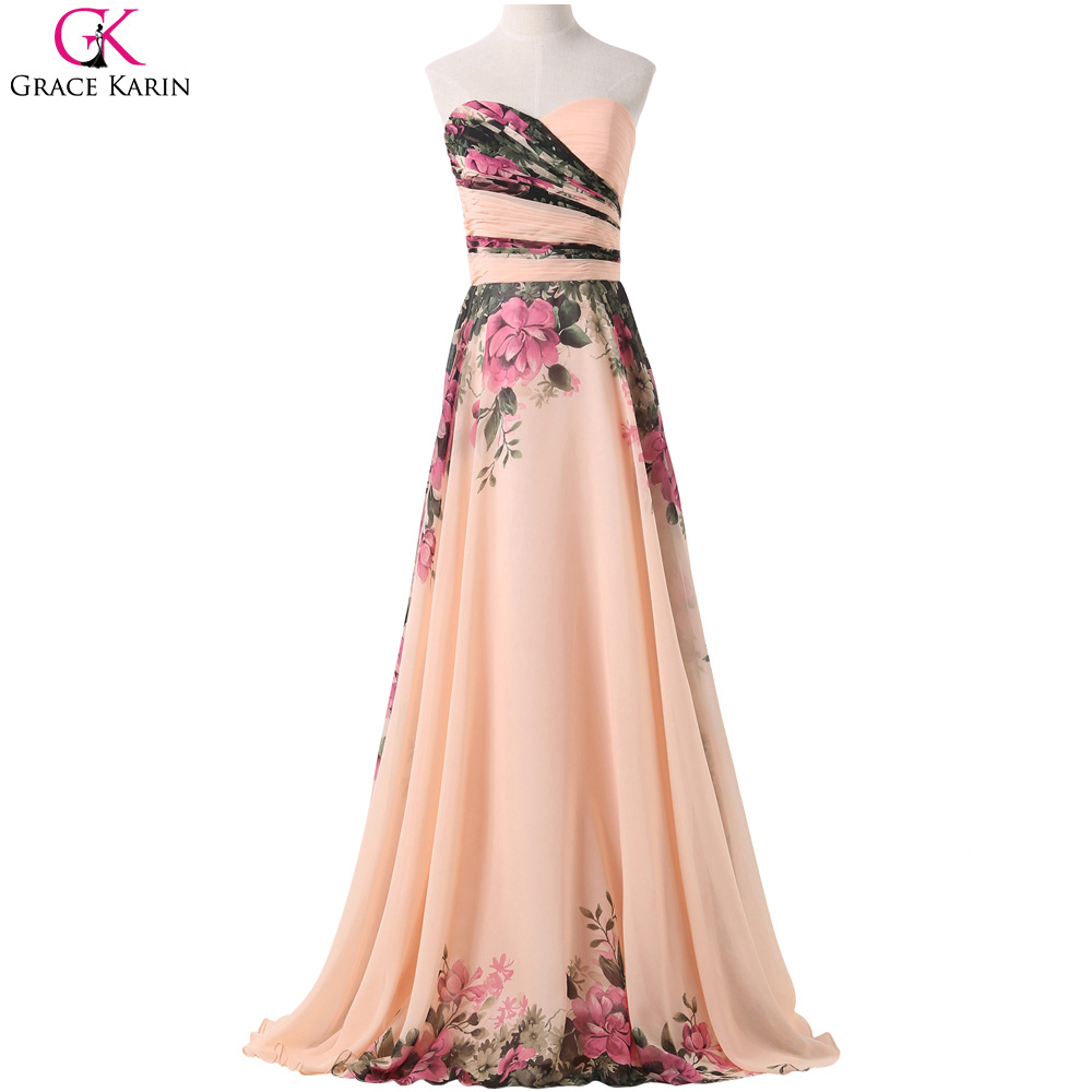 Real Photos Chiffon Bridesmaid Dresses 2016 Grace Karin Strapless Floral Print Long Formal Dress Party Plus Size Elegant Gowns(China (Mainland))