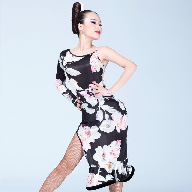 Latin dance costumes senior sexy milk silk printing single sleeves latin dance dress for women latin dancing dresses(China (Mainland))