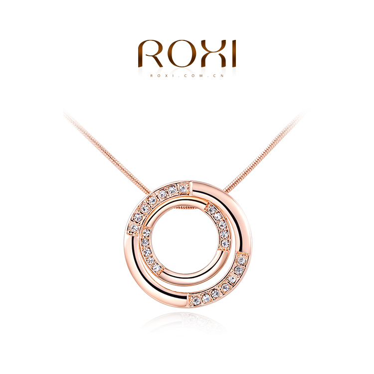 1PCS Free Shipping 18K Rose Gold Plated Austrian Crystal Round Pendant Necklace Jewelry for women