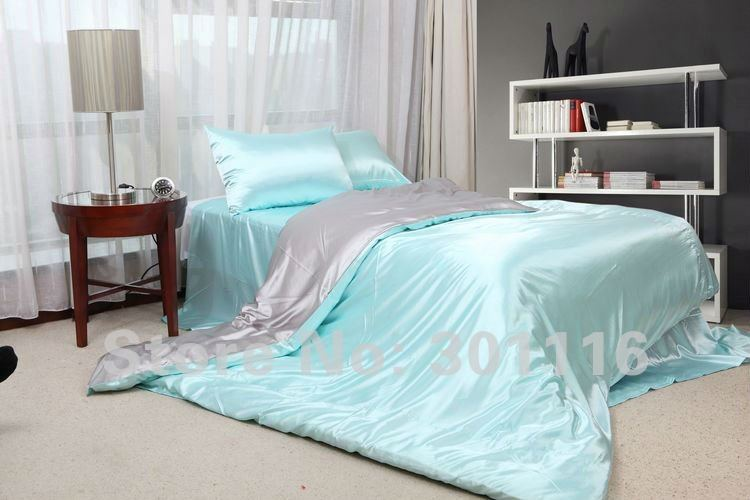 Fashion Summer Bedding 100 Cool Blue Imitated Silk Bed