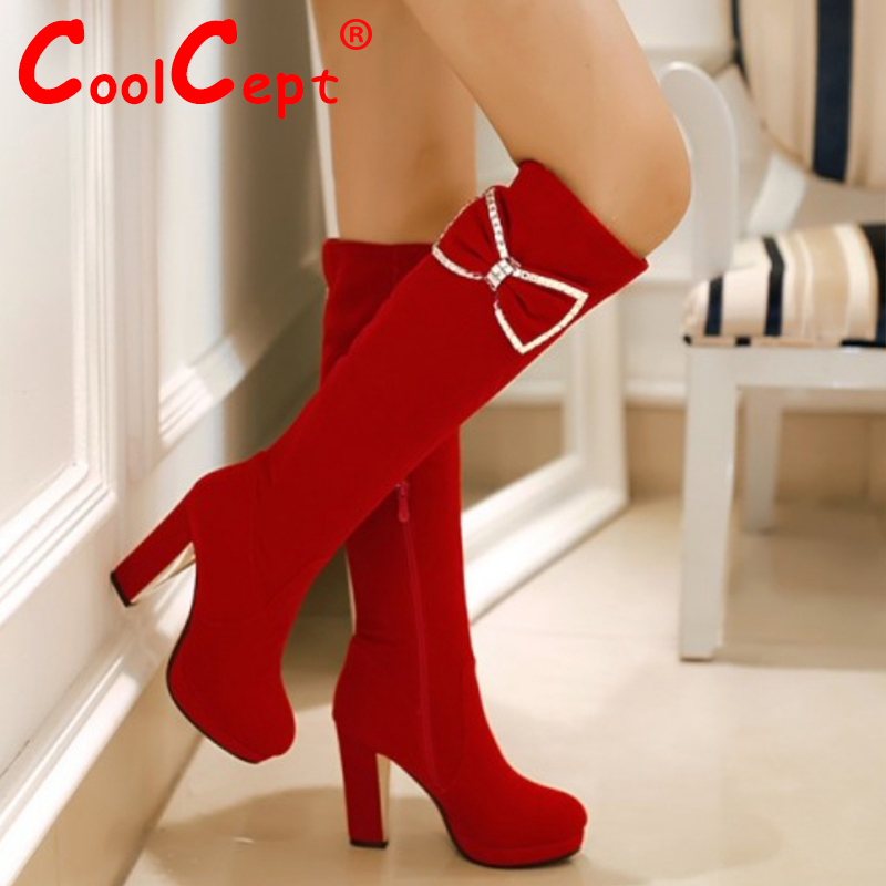 CooLcept Free shipping over knee high heel boots women snow fashion winter warm footwear shoes boot P15769 EUR size 34-43<br><br>Aliexpress