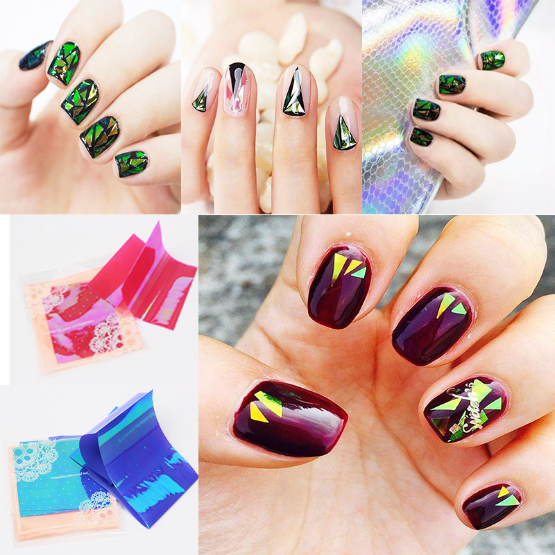 5 Pc/Lot Fashion Nail stickers Broken Irregularity Glass Mirror Foil Nail Sticker colorful Cellophane Nails DIY Manicure Designs(China (Mainland))