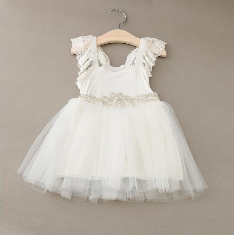 New Hot Baby Girls Fairy Tulle Lace Puff Sleeve Mesh Dress Shine Sashes, Princess White Party Clothing 5 pcs/lot, Wholesale(China (Mainland))