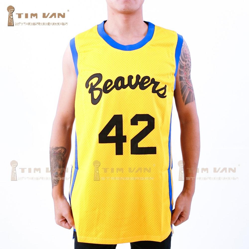 TIM VAN STEENBERGE Movies Of Michael J Fox Teen Wolf Jersey Howard 42 Movie Basketball Jersey Stitched Sewn-Yellow(China (Mainland))