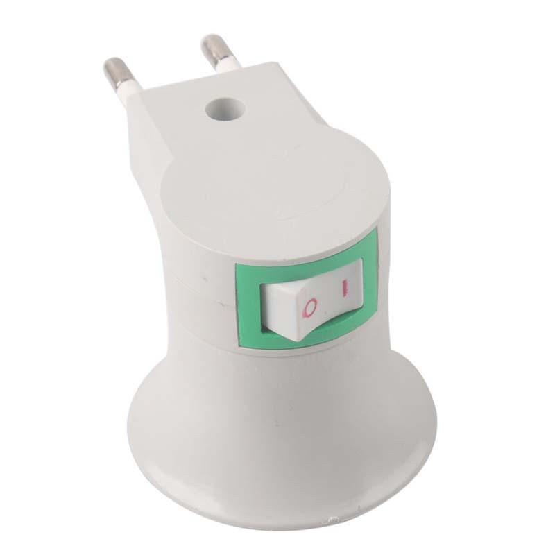New E27 LED Light Male socket to EU Type Plug Adapter Converter W/ ON OFF Button # 51701(China (Mainland))
