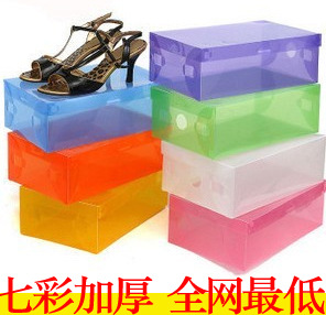 Thicken 47 candy-colored shoe storage box shoebox medium clamshell men women shoes wholesale organizer organizador plastic boxes(China (Mainland))