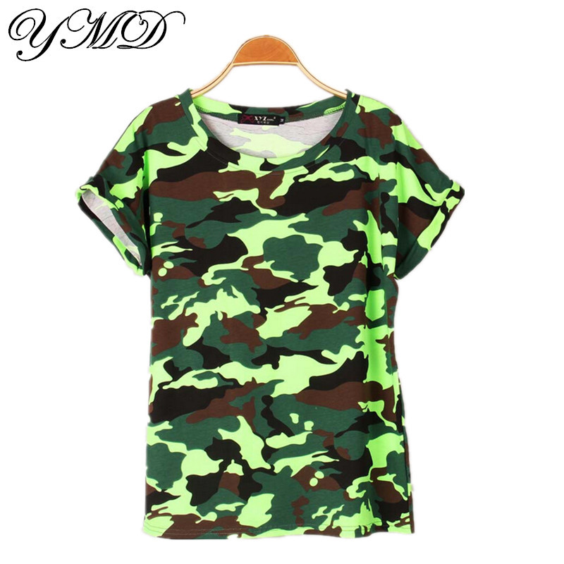 Camouflage Classic Stretch Cotton Casual T Shirt Women