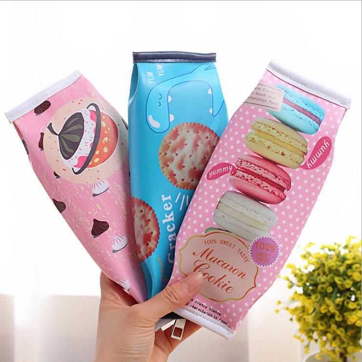 Korean Creative Macaron Cracker School Pencil Case Cute PU Leather pen bag Kawaii Stationery pouch office school supplies zakka(China (Mainland))