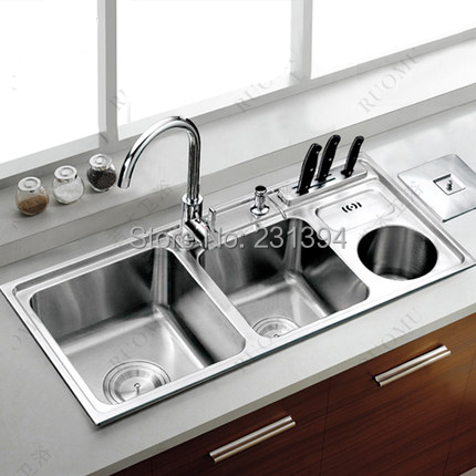 Triple bowl SUS304 Stainless steel kitchen sinks pia kichen sink with ...