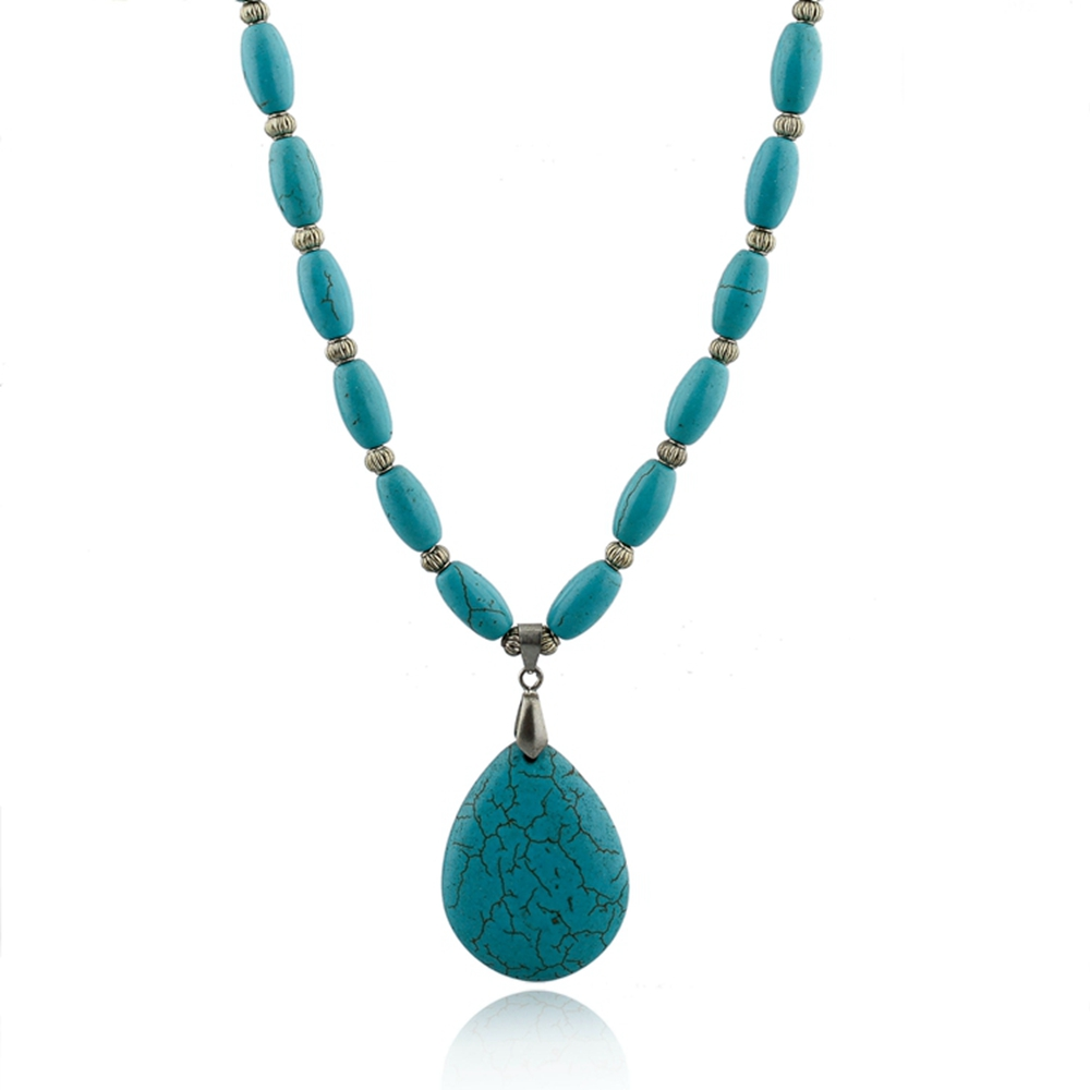 statement green turquoise necklace teardrop