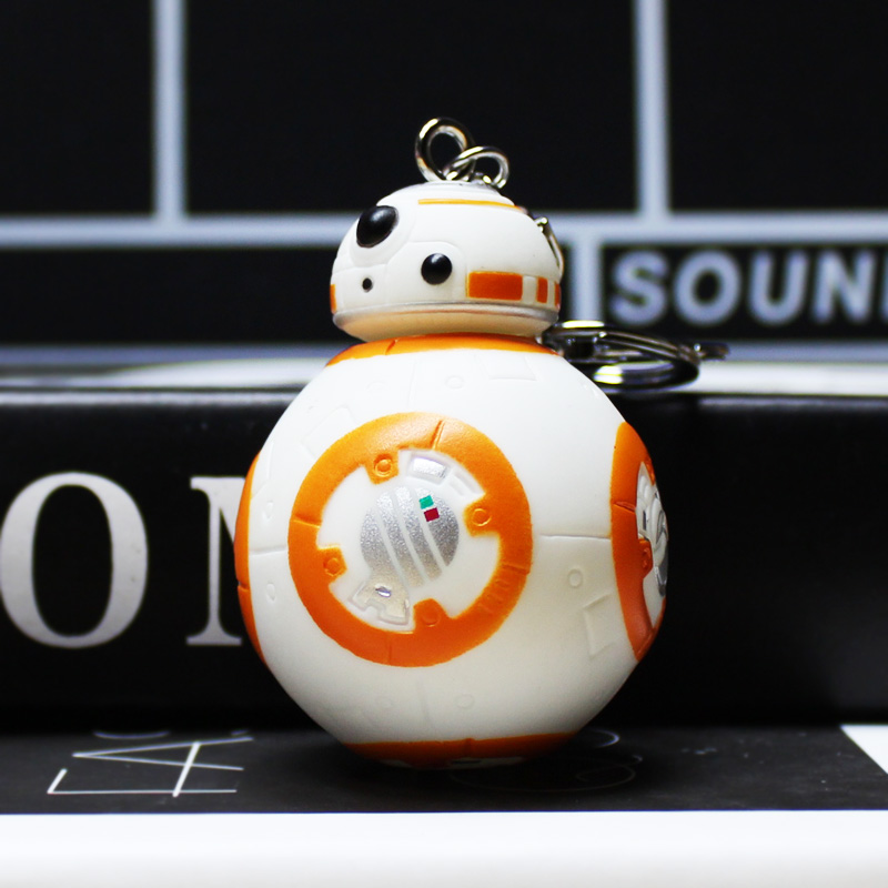 Hot 10Pcs/Lot Star Wars 7 PVC The Force Awakens BB8 BB-8 Droid Robot Figure Toy With Keychain Key Ring Pendant Great Gift 7cm(China (Mainland))