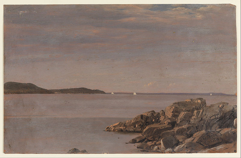 Canvas Art Prints Stretched Framed Giclee World Famous Artist Oil Painting Frederic Edwin Church Mt Desert Island Maine Coast(China (Mainland))