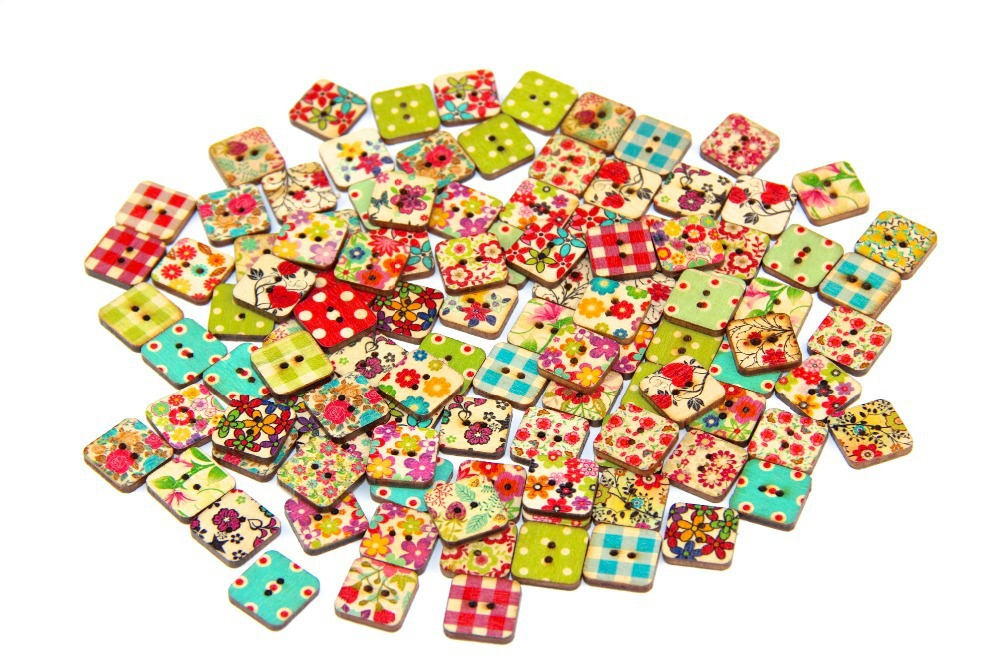 50pcs 17.5mm DIY wooden buttons square cute shape DIY sewing clothes button for craft scrapbooking sewing accessories(China (Mainland))