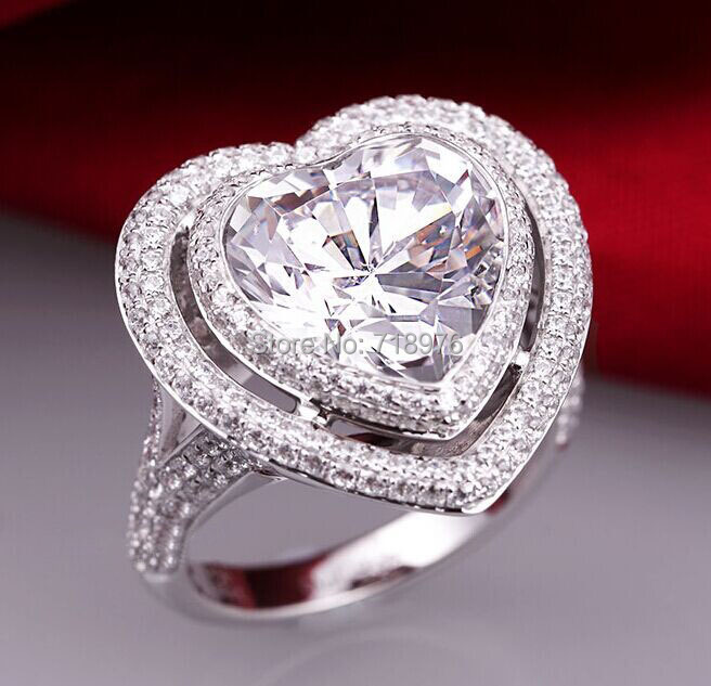 Ct Big Fashion Heart Shaped Center Synthetic Diamond Engagement Ring