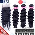 Peruvian Deep Wave Virgin Hair With 4x4 Closure Virgin Hair Weave Lace Closure With 3pcs Bundles