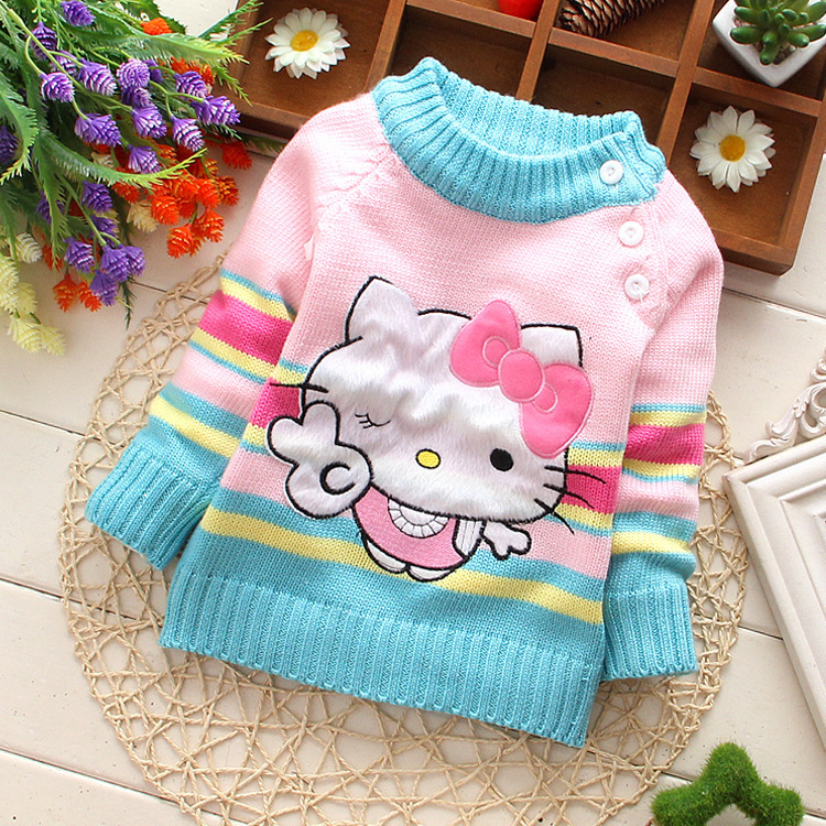 Retail 2014 autumn winter baby clothing children sweater fashion brand baby girl hello kitty sweater knitwear kid's clothes(China (Mainland))