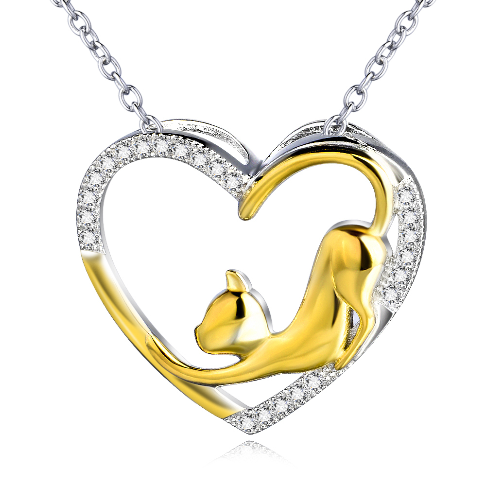 GNX0459 925 Sterling Silver Heart Necklace Fashion Jewelry Cubic Zircon Heart with Gold Cat Pendant Necklace For Women(China (Mainland))